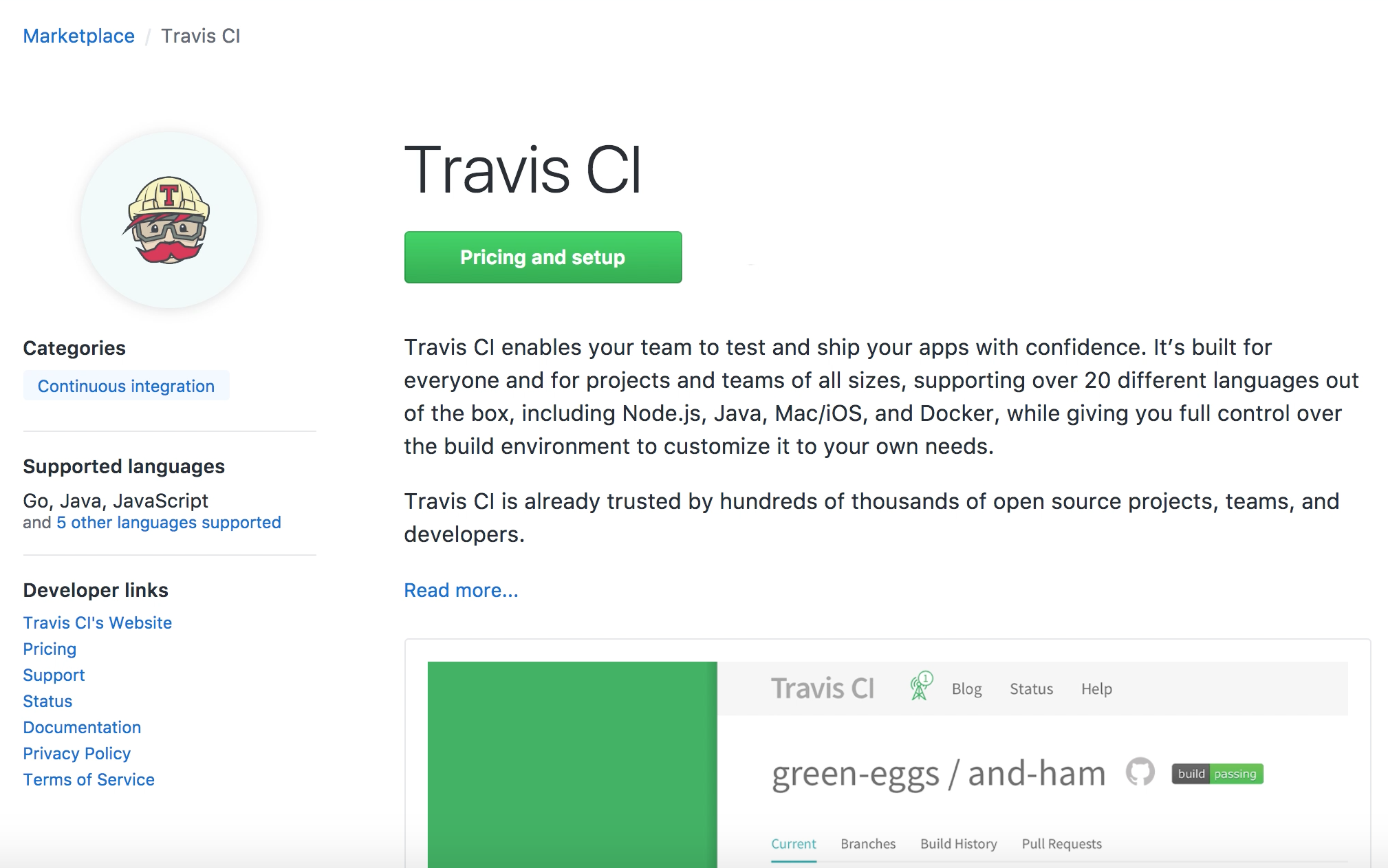 Travis CI GitHub Marketplace Pricing