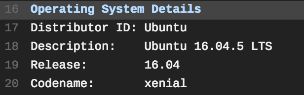 Jobs run on Xenial, display Operarting System Details, Description: Ubuntu 16.04.5 LTS