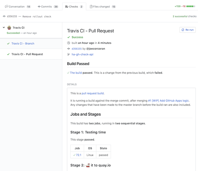 screenshot of full GitHub Checks page